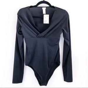 SALE   Black Long-Sleeve Bodysuit